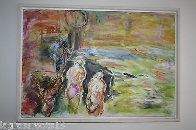 "Original Penny Kronengold Painting ""swimmers 6"" Abstract Art Expressionist 2002"