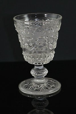 French lacy glass stemmed goblet, fancy foot, ca 1840s