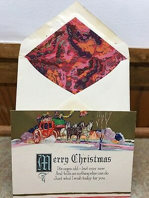 Unused Vintage Art Deco Christmas Card Matching Envelope 1930s Stagecoach