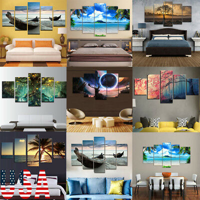 5-Panel Modern Canvas Home Wall Decor Art Painting Picture Print Unframed 39""