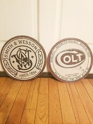 Smith And Wesson And Colt Metal Signs