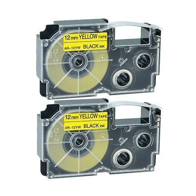 2PK Compatible Casio XR-12YW Black on Yellow Label Tape for EZ KL-60SR 12MM X 8M