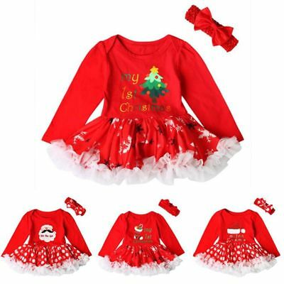 Infant Baby Girls My First Christmas Clothes Romper Dress Bow Headband 2Pc/Sets