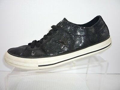 Converse Chuck Taylor One Star Canvas Low Sneakers Sequin Black Womens 9