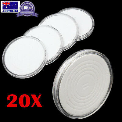 20x 46mm Applied Clear Plastic Coin Display Case Round Storage Capsules Holder