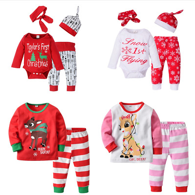Newborn Baby Girls MY 1st Christmas Romper Jumpsuit Tutu Outfits Set Clothes US