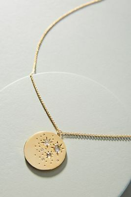 Anthropologie Gold Plated Celestial Coin Necklace in Pouch NEW
