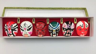 Vintage Hand-painted Miniature Chinese Opera Face Masks w/ Box