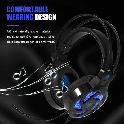 3.5mm Gaming Headset MIC LED Headphones SY855MV for PC Mac Laptop PS4 Xbox One