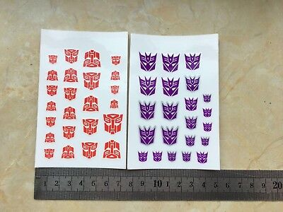 Transformers Red Autobot Decals + Purple Decepticon Decals Two sheets