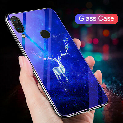 For Huawei Y9 2019 Y7 Y6 Prime 2018 Luxury Hybrid Tempered Glass Back Case Cover