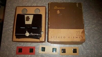 "Revere ""Stereo 22""  slide viewer Bakelite in Original Box with 3 Pin Up Slides"