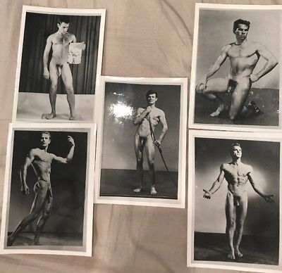 Vintage Nude Photos Male ~ Black and White 5x7 Gay Interest ~ Set Of 5