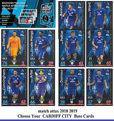 Choose MATCH ATTAX 2018 2019 Topps 18/19 CARDIFF CITY Star /Base Cards
