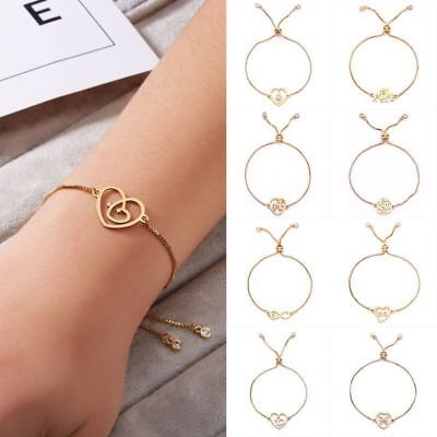 Hot Women Love Heart GoId Bracelet Bangle Infinity Charm Chain CZ Adjust Jewelry