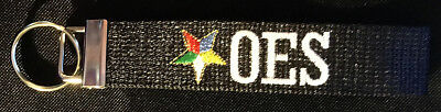 Sparkly Black Embroidered Order of the Eastern Star - OES - Keychain
