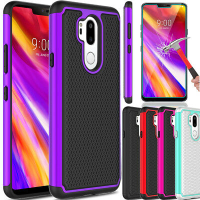 For LG G7 ThinQ Hybrid Rubber Hard Slim Armor Phone Case+Glass Screen Protector