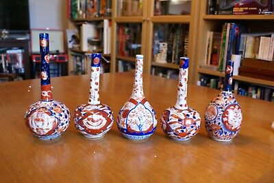 5 Antique Imari Bottle Vases Japanese Meiji 4 are Damaged Porcelain