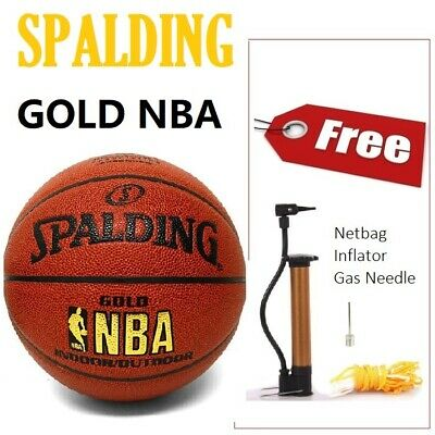 Spalding Gold NBA Indoor   Outdoor Pattern Leather Basketball Size 7 with  Pump d7d0c4c7b1