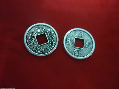 25 Chinese Antique Silver Fortune Coins/I Ching/ two Dragons 17mm(A123001)