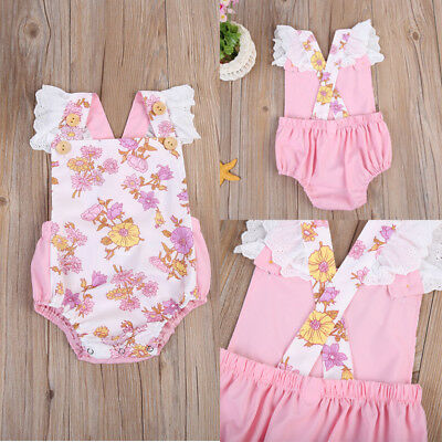 Newborn Infant Baby Girl Romper Jumpsuit Bodysuit  Outfits Summer Floral Clothes
