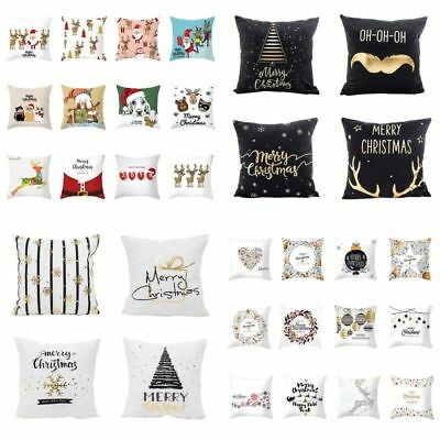 Christmas Gold Letters Bronzing Snowflake Throw Pillow Case Sofa Cushion Cover