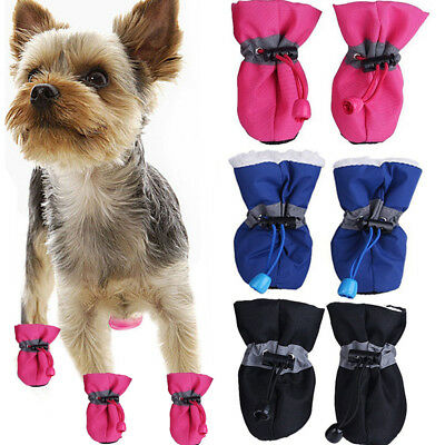 4x Winter Small Dog Anti-Slip Rain Boots Puppy Shoes Pet Protective Sock Booties
