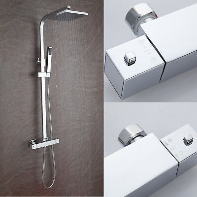 Thermostatic Shower Mixer Square Chrome Bathroom Exposed Twin Head Valve Set 03