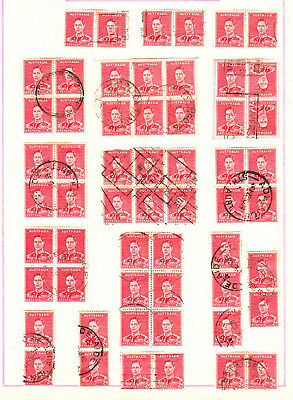 1938 2d RED KGVI X 4 PAGES USED INC BLOCKS & PAIRS (G96)