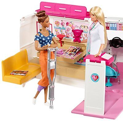Playsets Barbie Care Clinic Vehicle Ambulance Hospital Van Toy Lights And Sounds