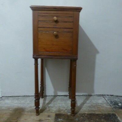Antique Vintage Small Pitch Pine Washstand Bedstand Table with marble top