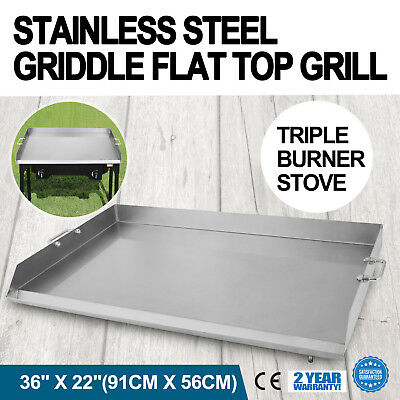 """36"""" x 22"""" Stainless Steel Griddle Flat Top Grill Kitchen Heavy duty For Triple"""