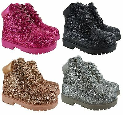 Girls Kids Childrens Glitter Ankle Warm Winter Faux Fur Lined Comfy Shoes Boots