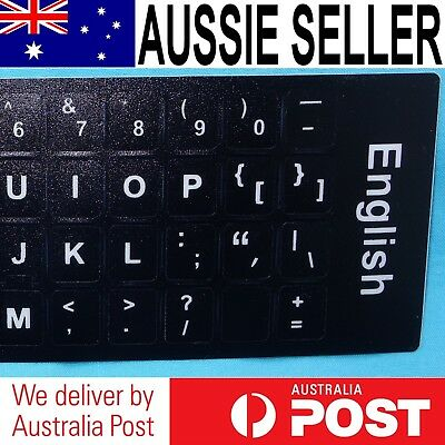 English Only Keyboard Stickers (Black Background / White Letters)