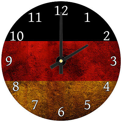German Flag Retro Modern Abstract Glass Large Kitchen Bedroom Wall Clock
