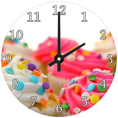Pink White Cupcake Modern Abstract Glass Large Kitchen Bedroom Wall Clock