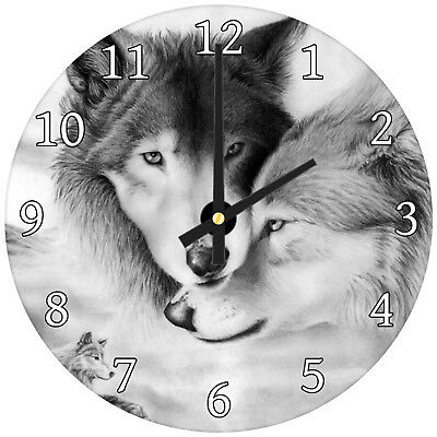Arctic Wolves Black White Modern Animal Glass Large Kitchen Bedroom Wall Clock