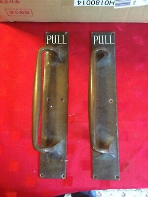 Old Large Pair of Brass Door Pull Handles ideal for a Shop / Pub / Bar