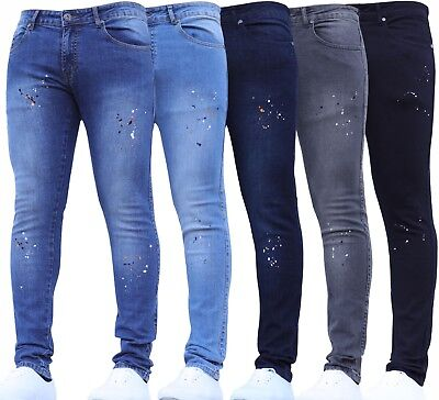 BNWT New Mens Super Stretch Skinny Designer Paint Rips Ripped Jeans Waist Pants