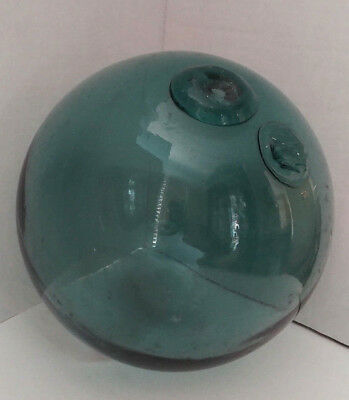 """Vintage Japanese Large Green Glass Fishing Buoy 10"""" BALL FLOAT 30 """"Circumference"""