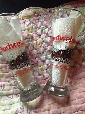 Set of Two Vintage CHRISTMAS 1988 BUDWEISER Clydesdale PILSNER BEER Glasses