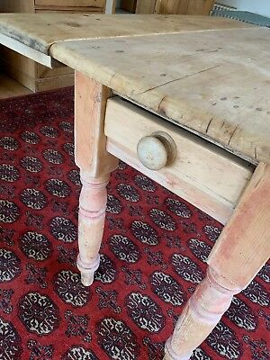 Antique Pine Kitchen Dining Table Drop Flap Extension Victorian Country Living