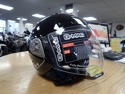 Gmac Metro Motorcycle Open face Helmet XS - XXL White & Black available