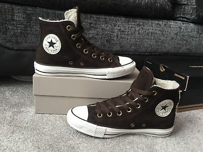 Converse Brown leather suede with fleece lining high top trainers UK size 5