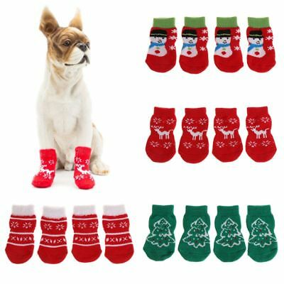 4Pcs Pet Socks Christmas Warm Claw Protector Dog Cat Non Slip Knitted Breathable