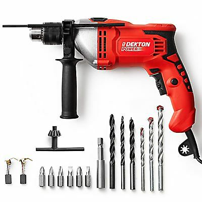 Dekton Power 240V 1050W Pro Impact Drill Wood Concrete Steel Hammer Aux Handle