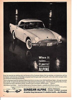 1962 Sunbeam Alpine ~ Original Canadian Print Ad