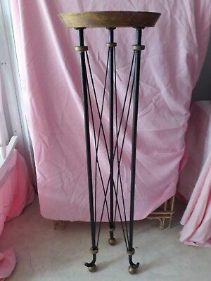 "Antique WROUGHT IRON & BRASS STAND for SCULPTURE / DISPLAY / PLANT ~ 54"" Tall"