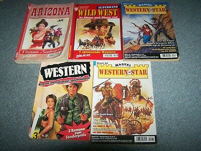 19 Romane in 5 Bänden WILD WEST, Western Star, Trio Bücher Western,ARIZONA.