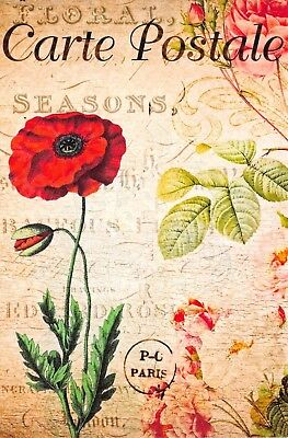 Fine Art Quality Postcard French Vintage Shabby Chic Style Red Poppy, Floral 76J